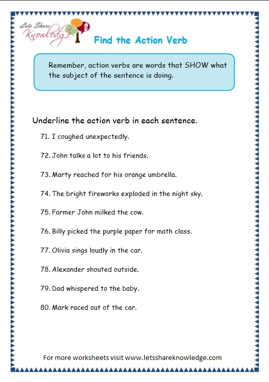 page 12 action verbs worksheet