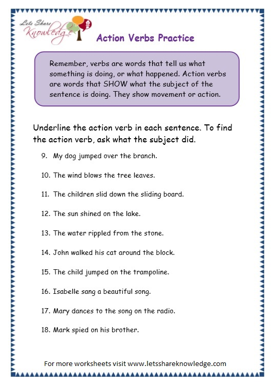 Grade 3 Grammar Topic 2 Action Verbs Worksheets Lets Share Knowledge. Page 5 Action Verbs Worksheet. Worksheet. Action And Being Verbs Worksheets At Clickcart.co