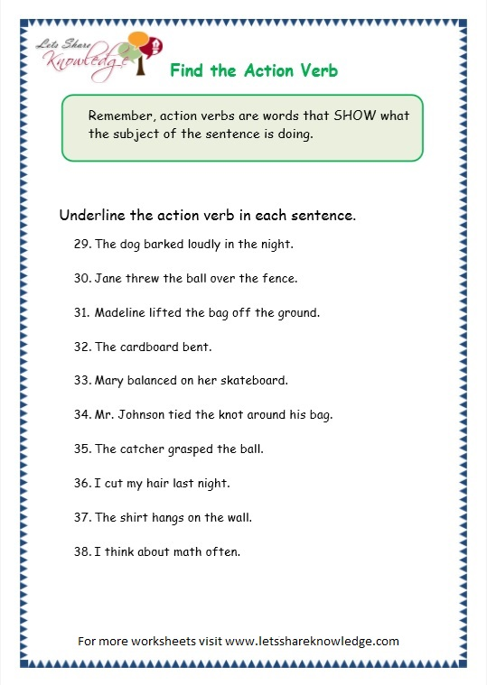 Second Grade - action verb worksheets for first grade verbs past tense ...