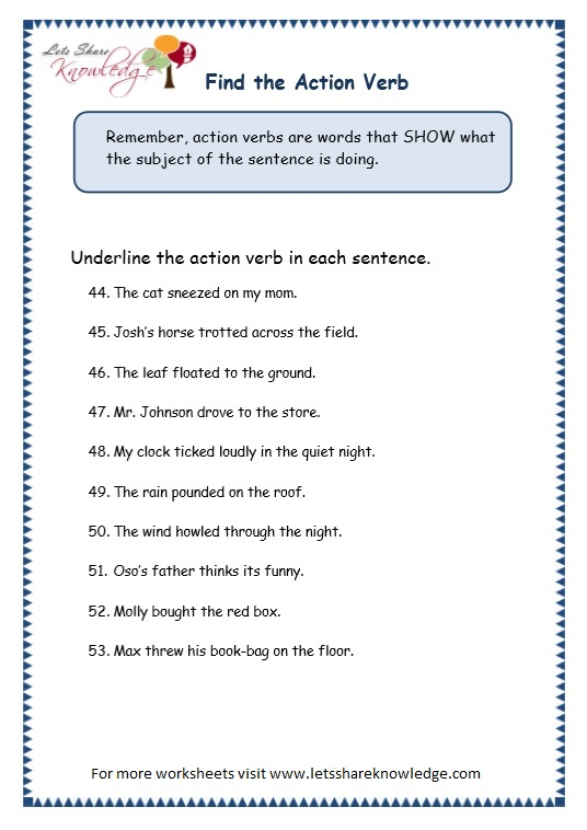 page 9 action verbs worksheet