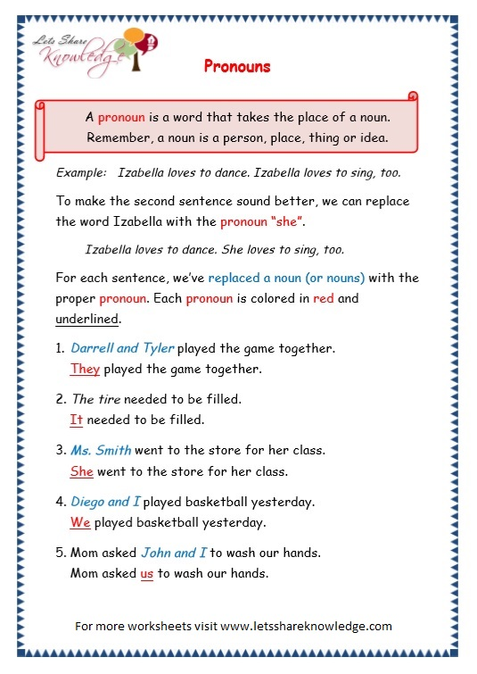 page 1 pronouns worksheet