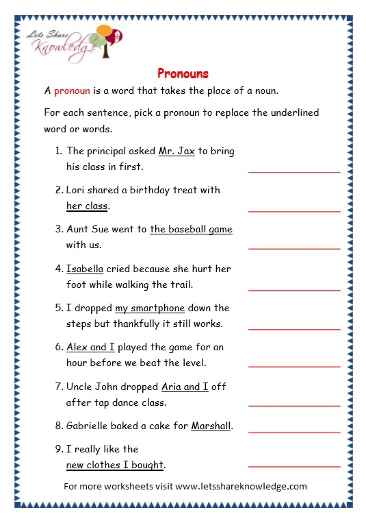 page 5 pronouns worksheet