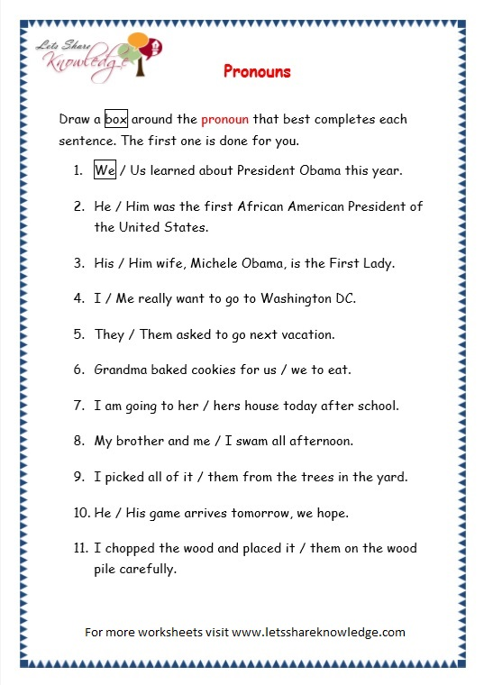 page 6 pronouns worksheet