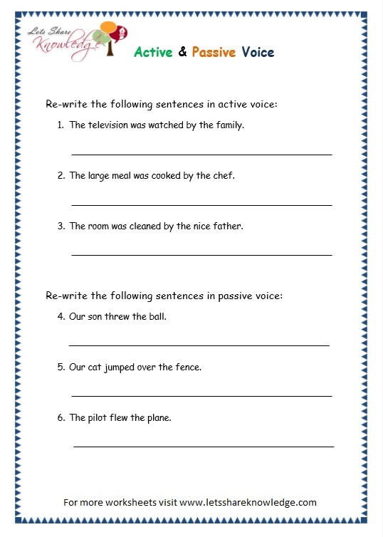 Grade 3 Grammar Topic 3: Active Passive Voice Worksheets ...