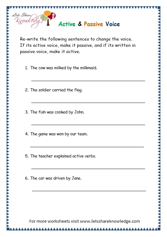 page 11 active passive voice worksheet