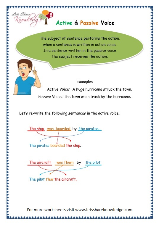 Grade 3 Grammar Topic 3 Active Passive Voice Worksheets Lets – Active Passive Voice Worksheet