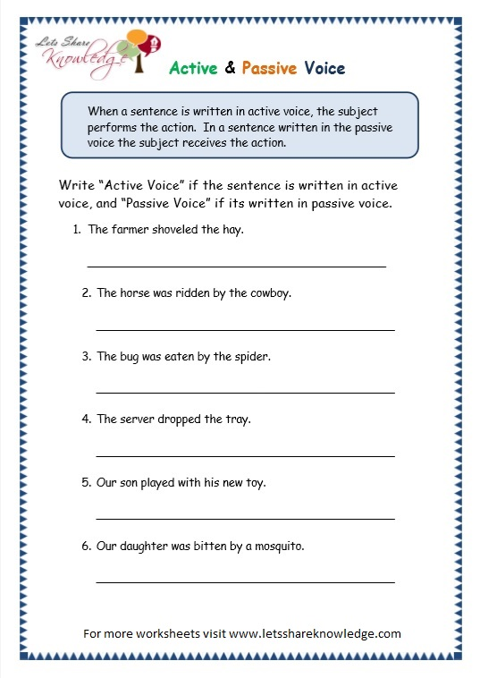 Grade 3 Grammar Topic 3 Active Passive Voice Worksheets Lets – Active Vs Passive Voice Worksheet