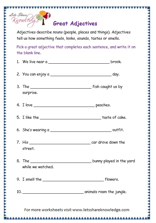 Grade 3 Grammar Topic 4: Adjectives Worksheets - Lets Share Knowledge