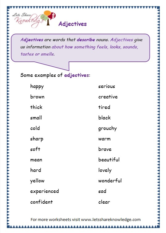 page 2 adjectives worksheet