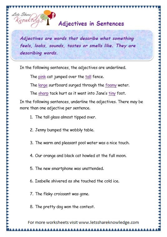 page 3 adjectives worksheet