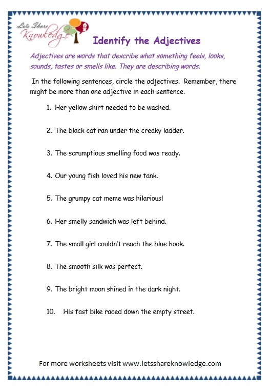 page 5 adjectives worksheet