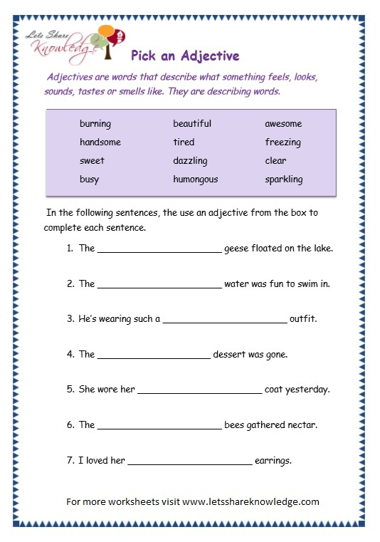 page 8 adjectives worksheet