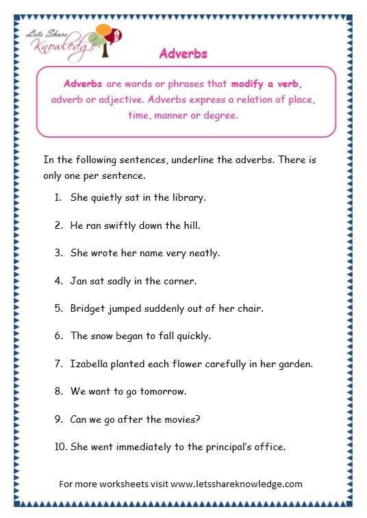Grade 3 Grammar Topic 16: Adverbs Worksheets - Lets Share Knowledge