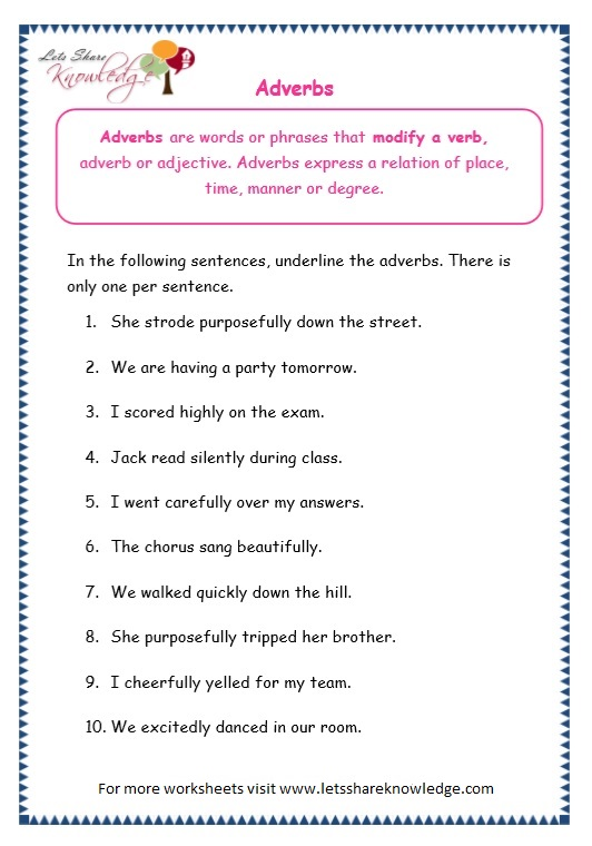 Free adverb worksheets grade 4