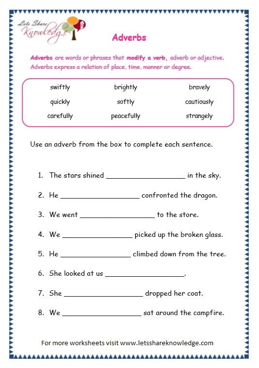 Free 2nd grade worksheets on adverbs