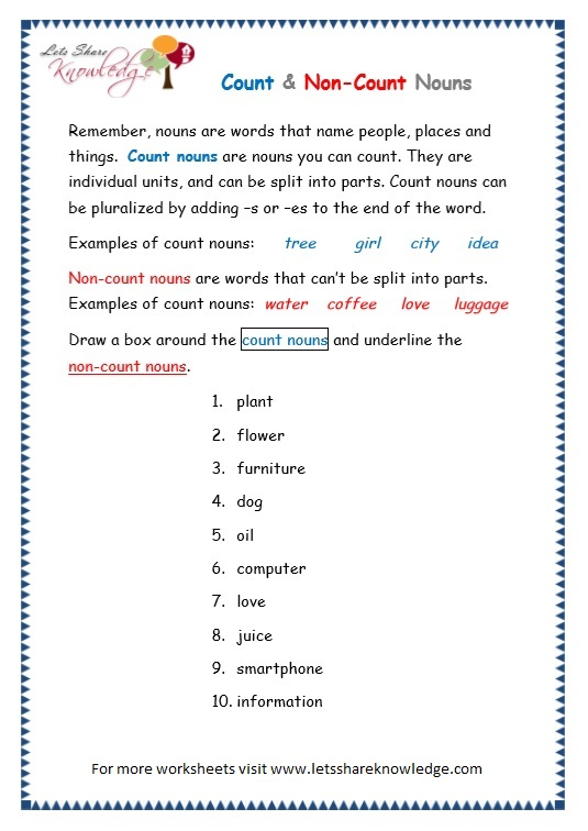 Grade 3 Grammar Topic 12: Count and Noncount Nouns Worksheets ...