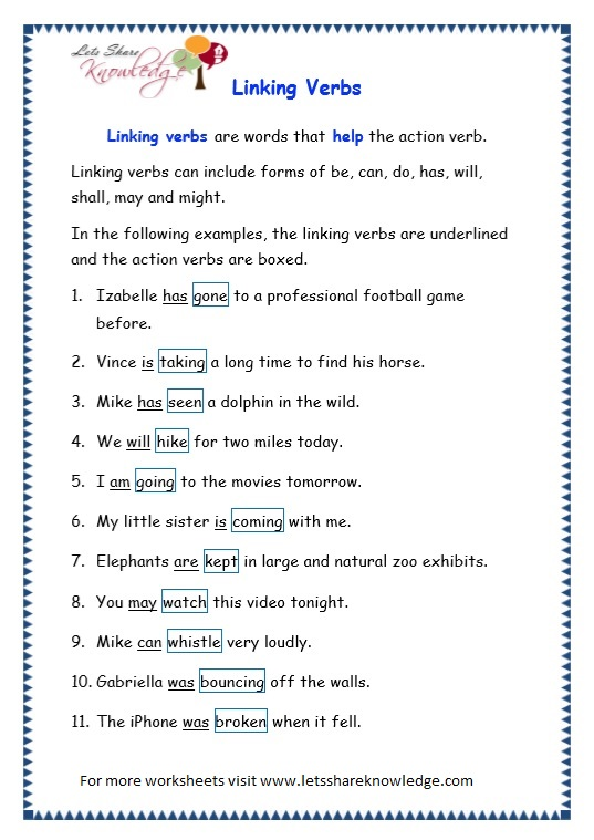 Grade 3 Grammar Topic 14 Helping Verbs Worksheets Lets