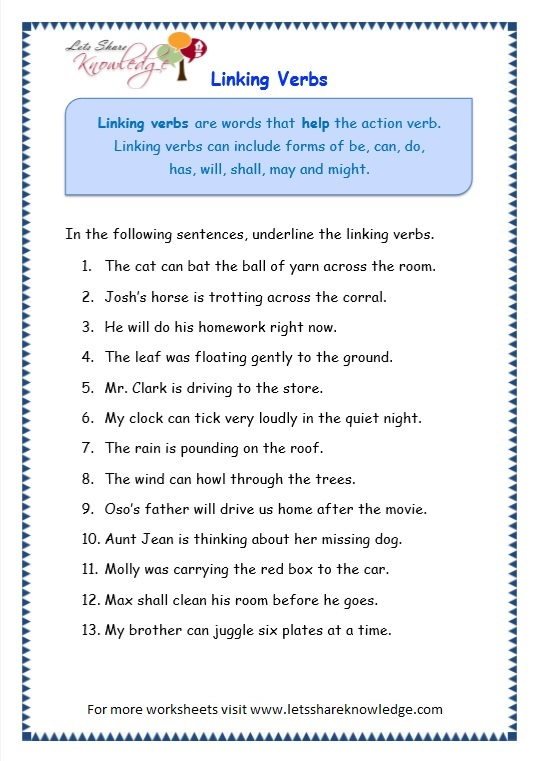 Grade 3 Grammar Topic 14 Helping Verbs Worksheets Lets Share – Main and Helping Verbs Worksheets