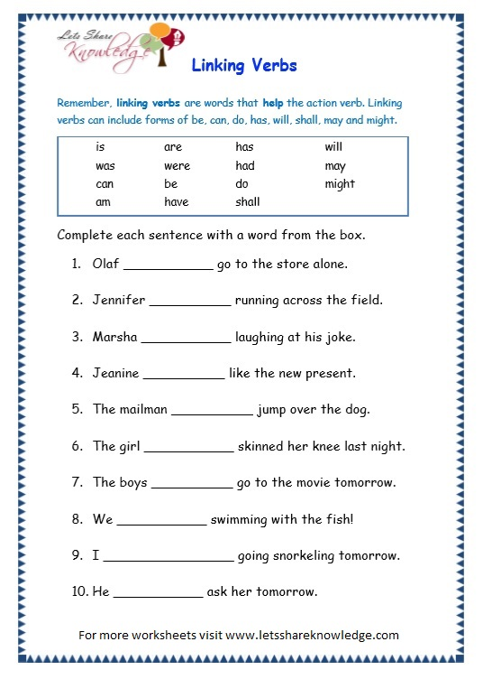 Auxiliary Verbs Worksheets For Grade 4 - sentences and ...