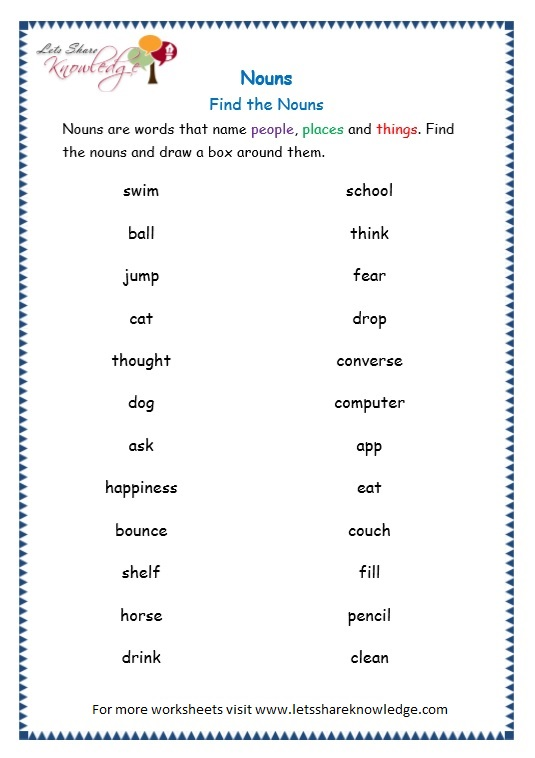 6th grade grammar worksheets nouns