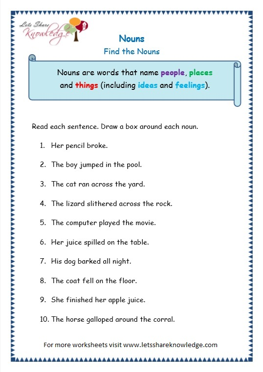 grade 3 grammar topic 6 nouns worksheets lets share knowledge. Black Bedroom Furniture Sets. Home Design Ideas