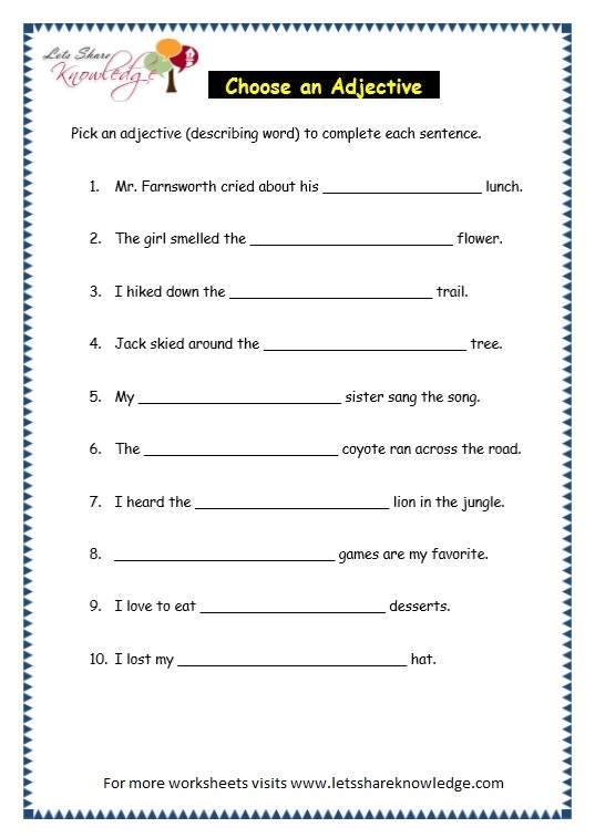 Grade 3 Grammar Topic 5 Parts Of Speech Worksheets Lets
