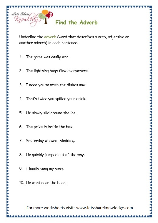 page 8 parts of speech worksheet