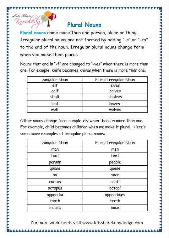 page 5 plurals worksheet