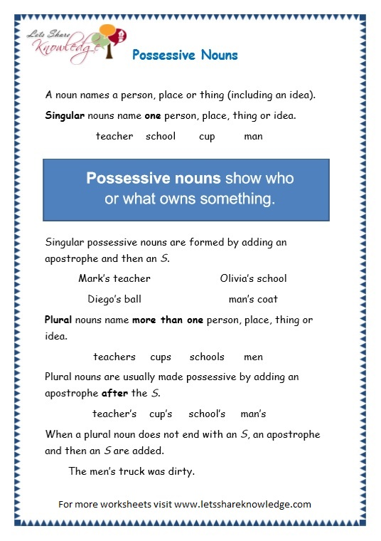 page 1 possessive nouns worksheet