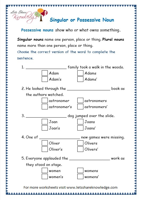 page 5 possessive nouns worksheet