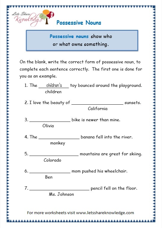 Grade 3 Grammar Topic 8: Possessive Nouns Worksheets - Lets Share ...
