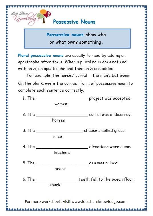 page 8 possessive nouns worksheet