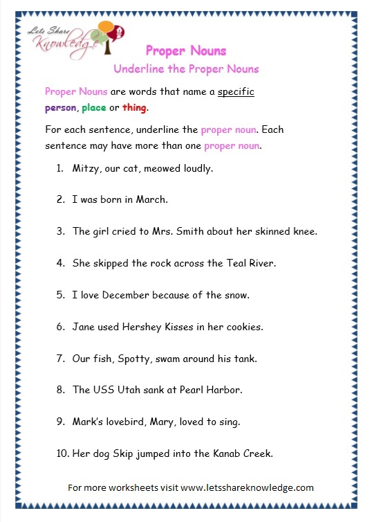 page 3 proper nouns worksheet