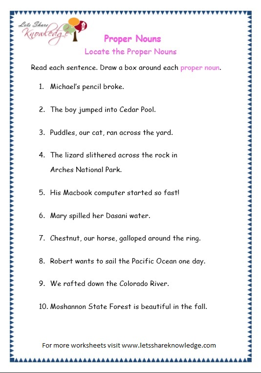 page 6 proper nouns worksheet