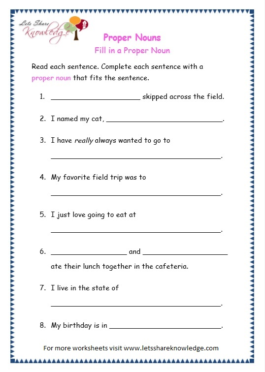 page 7 proper nouns worksheet