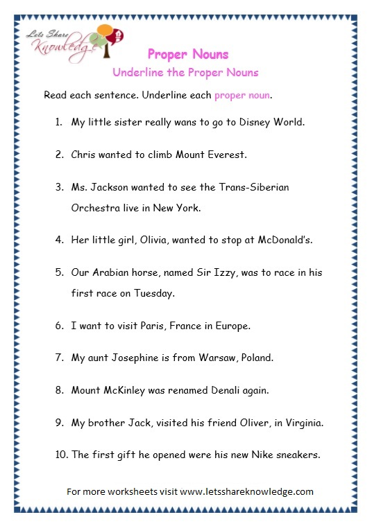page 8 proper nouns worksheet