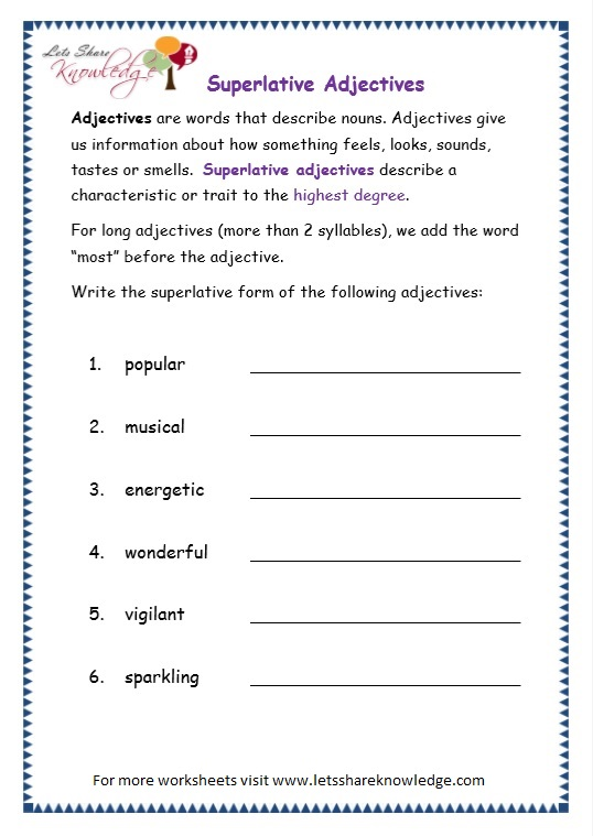 Adjectives and adverbs worksheets grade 6