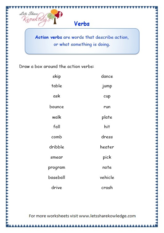 page 2 verbs worksheet