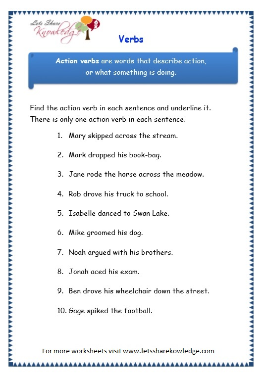 Grade 3 Grammar Topic 13: Verbs Worksheets - Lets Share Knowledge