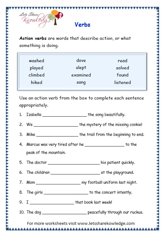 Grade 3 Grammar Topic 13 Verbs Worksheets Lets Share Knowledge – Verbs Worksheet