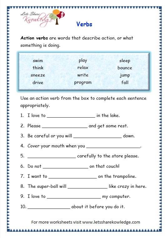 Grade 3 Grammar Topic 13: Verbs Worksheets - Lets Share ...