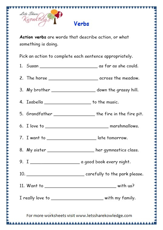 Action and linking verbs worksheet grade 4
