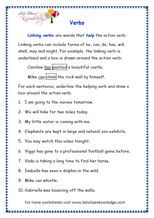 page 9 verbs worksheet