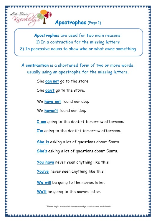 page 1 apostrophe worksheet