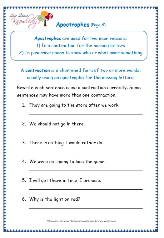 page 4 apostrophe worksheet
