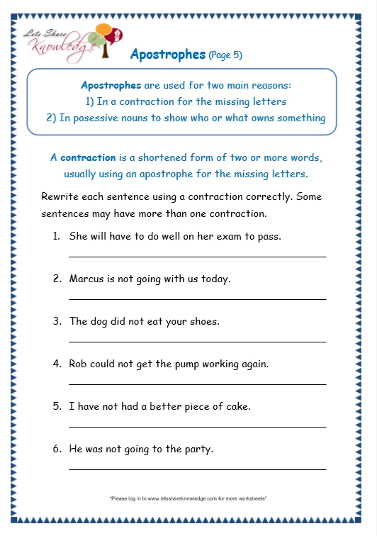 page 5 apostrophe worksheet