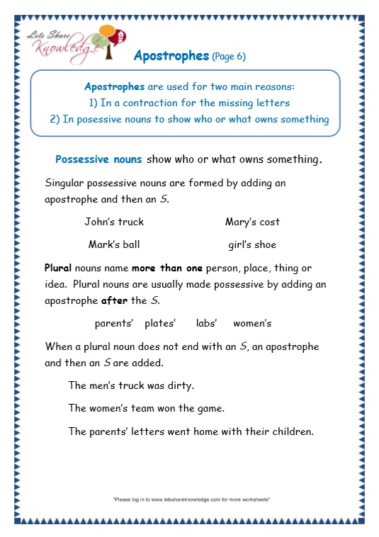 page 6 apostrophe worksheet