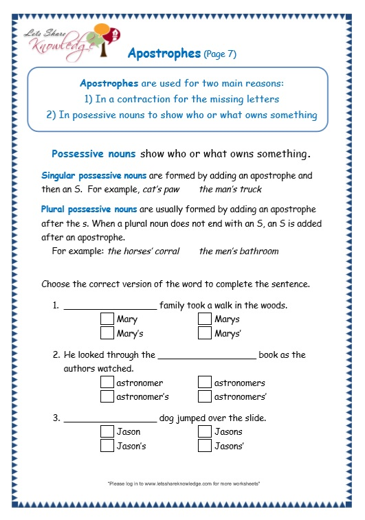 page 7 apostrophe worksheet