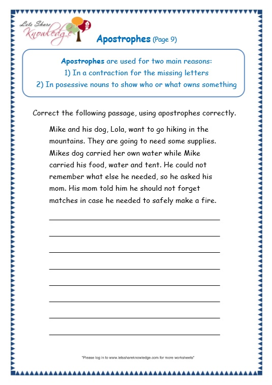 page 9 apostrophe worksheet