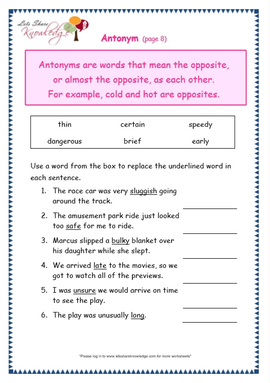 synonyms and antonyms worksheet for grade 3 pdf